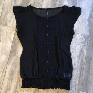 Maurice's short sleeve sheer blouse